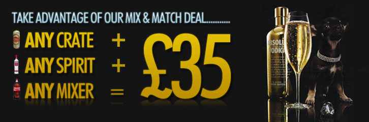 Take advantage of our Mix & Match Deal. Any crate + any spirit + any mixer for £35